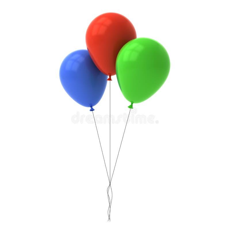 Wiązka kolorowi glansowani balony odizolowywający nad białym tłem ilustracja wektor