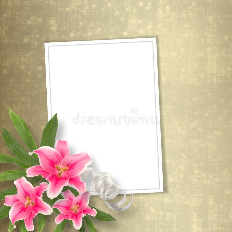 wiązka kwiaty karciani gratulacyjni ilustracja wektor