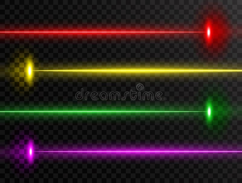 Wiązka laserowa set Kolorowa wiązki laserowej kolekcja odizolowywająca na przejrzystym tle Neonowe linie Jarzeniowy partyjny wiąz ilustracji