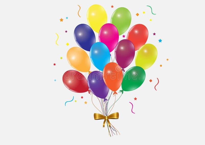 Wiązka latać kolorowych balony z złotym faborkiem na białym tle ilustracji