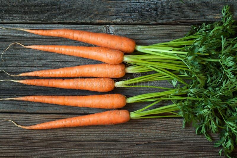 Wiązka marchewki nieociosanego żniwa healhy organicznie obraz stock