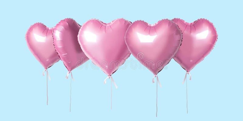 Wiązka menchia koloru folii serce kształtujący balony odizolowywający na jaskrawym tle Minimalny miłości pojęcie ilustracja wektor