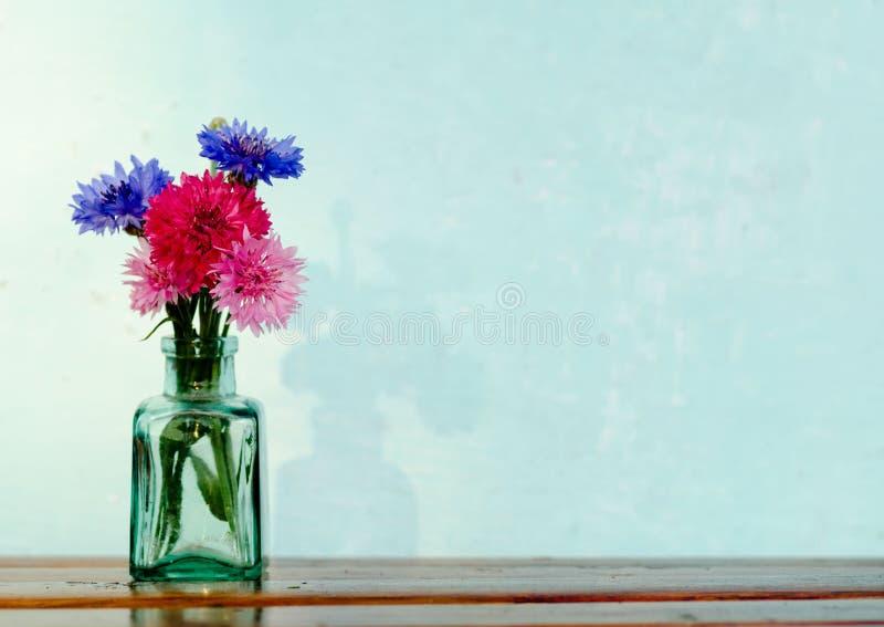 Wiązka piękni błękita, czerwieni i menchii cornflowers w zielonym szkle, zdjęcie royalty free