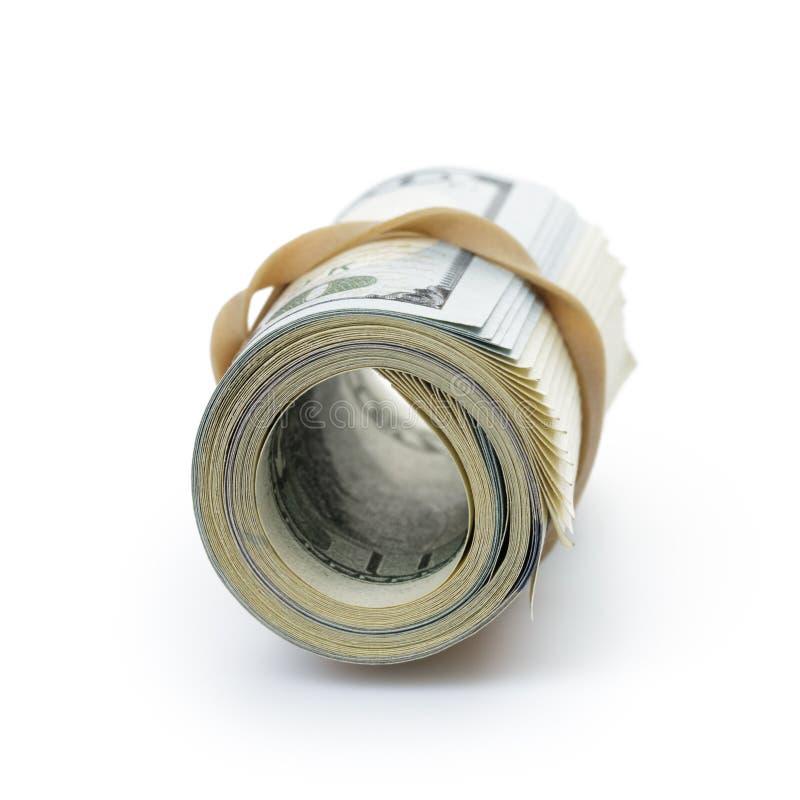 Wiązka sto dolarowych rachunków wiązał z gumą obrazy stock