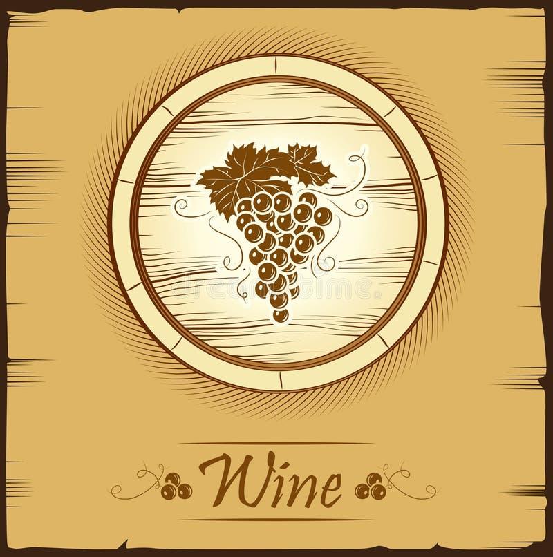 Wiązka winogrona dla etykietek wino ilustracja wektor
