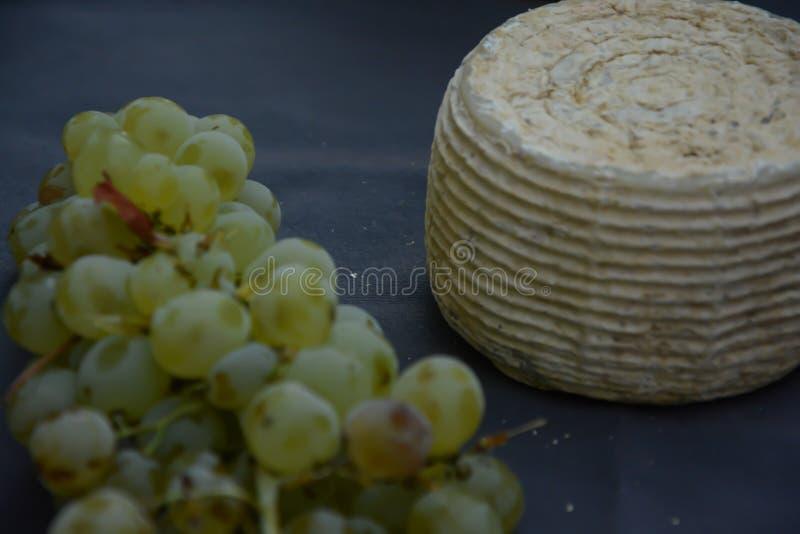Wiązka winogrona i ser, makro- obraz stock