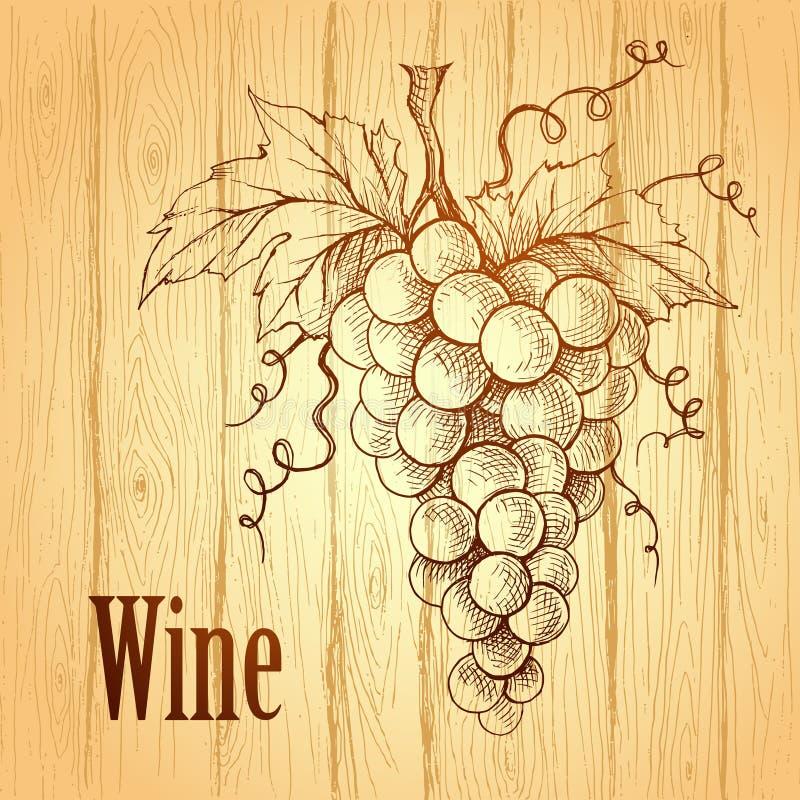 Wiązka winogrona na drewnianym tle Wino etykietka royalty ilustracja