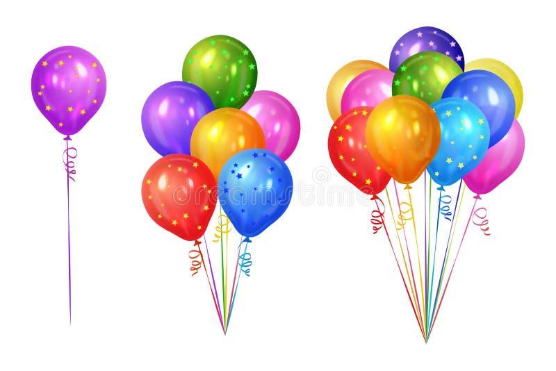 Wiązki kolorowi helowi balony odizolowywający na białym tle royalty ilustracja