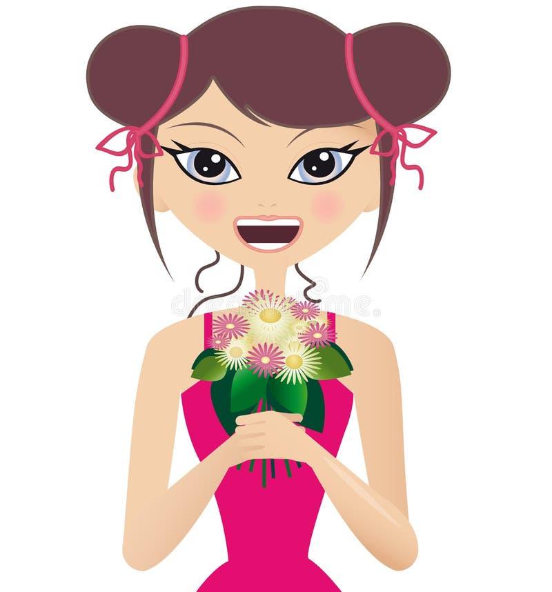 wiązki mienia różowa uśmiechnięta whit kobieta royalty ilustracja