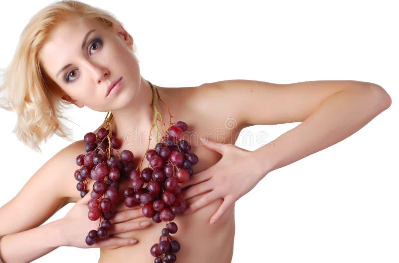 wiązki winogron kobieta obrazy royalty free