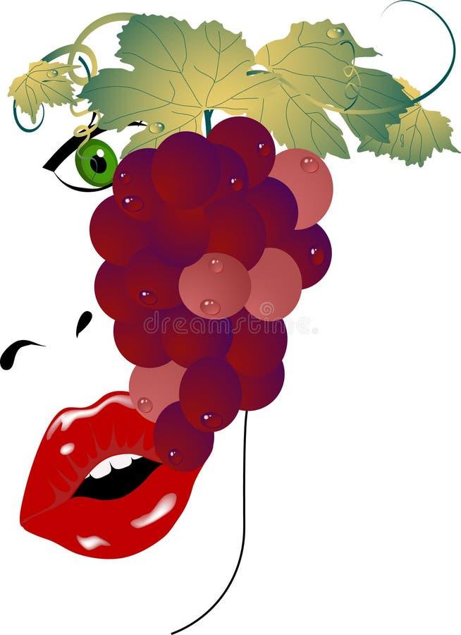 wiązki winogron kobiety ilustracja wektor