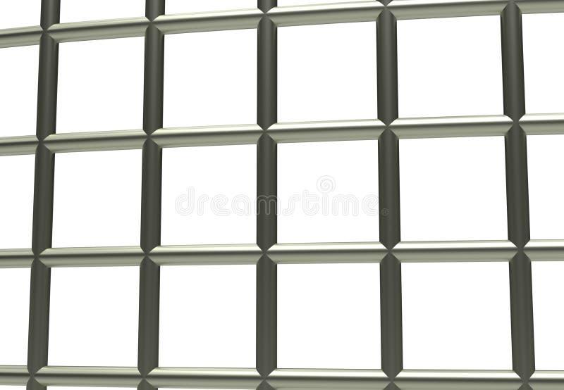Więźniarski więzienie bloking na białej 3d ilustraci ilustracja wektor