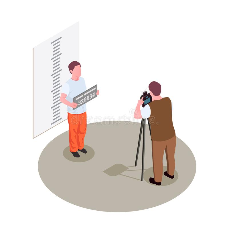 Więźniarskiego więzienia Isometric skład ilustracja wektor
