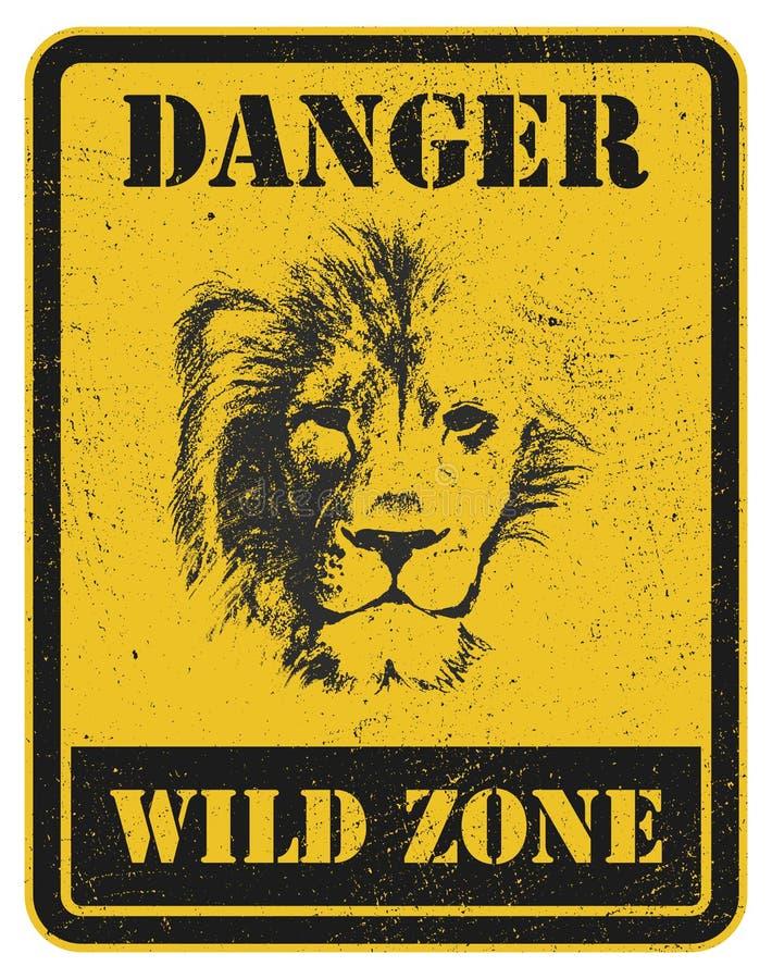 więcej mojego portfolio znak podpisuje ostrzeżenie niebezpieczeństwo sygnał z lwem ilustracji