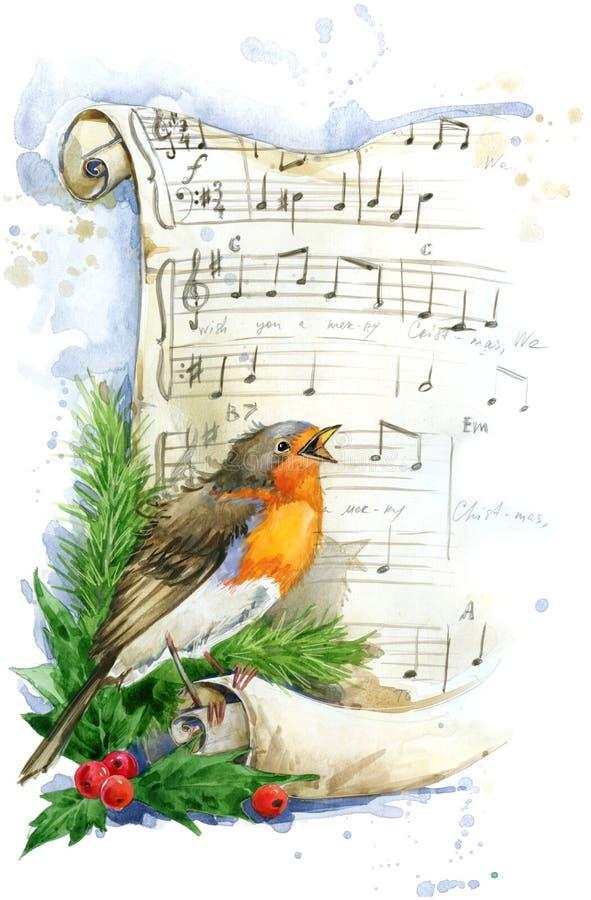 więcej toreb, Świąt oszronieją Klaus Santa niebo Bożenarodzeniowa ptasia akwarela ilustracja wektor