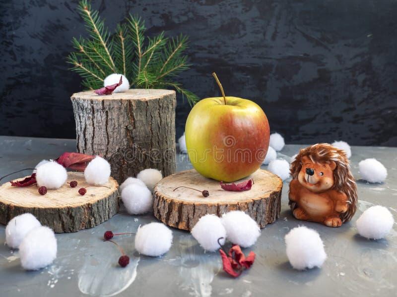 więcej toreb, Świąt oszronieją Klaus Santa niebo Jeż zakłada wielkiego jabłka na lasowym konopie Snowballs, susi jesień liście obraz royalty free