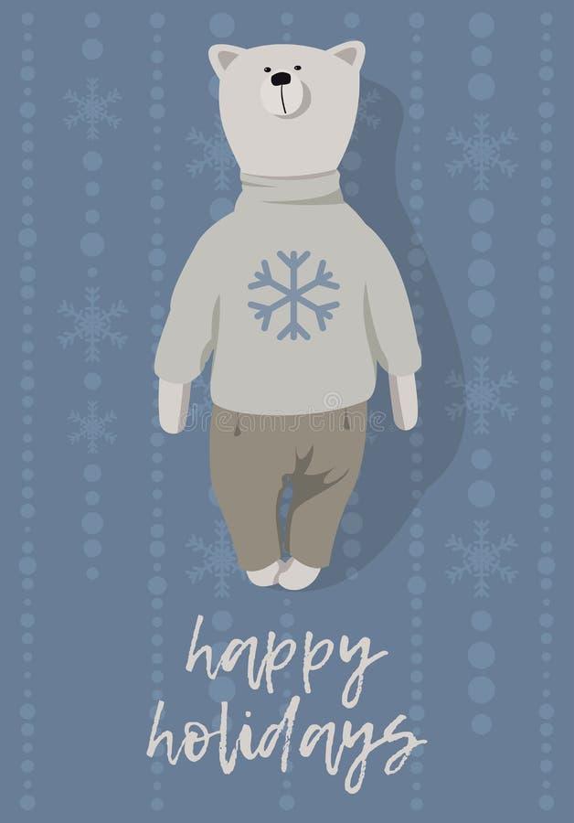 więcej toreb, Świąt oszronieją Klaus Santa niebo słodkie bear Ręka rysujący styl ilustracja wektor