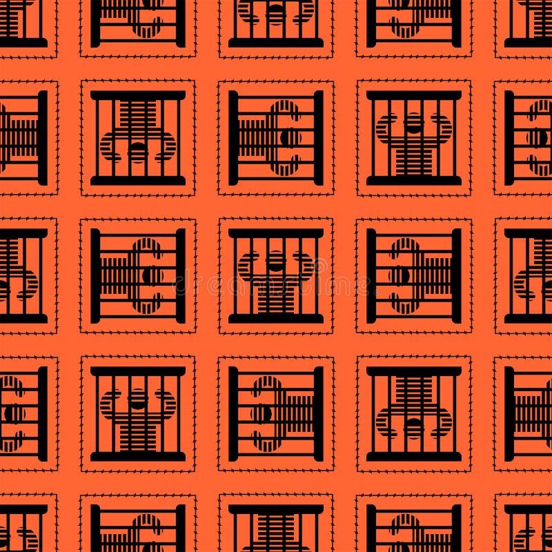 Więzienia deseniowy bezszwowy Więzień w więźniarskim tle Perpetrato royalty ilustracja