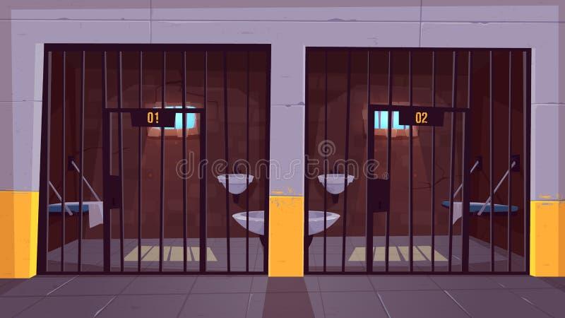 Więzienie pojedynczych komórek kreskówki wewnętrzny wektor royalty ilustracja