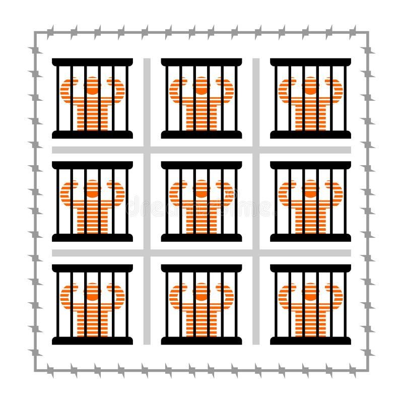 Więzienie symbol Więzień w więzieniu Sprawca i bary na okno ilustracja wektor