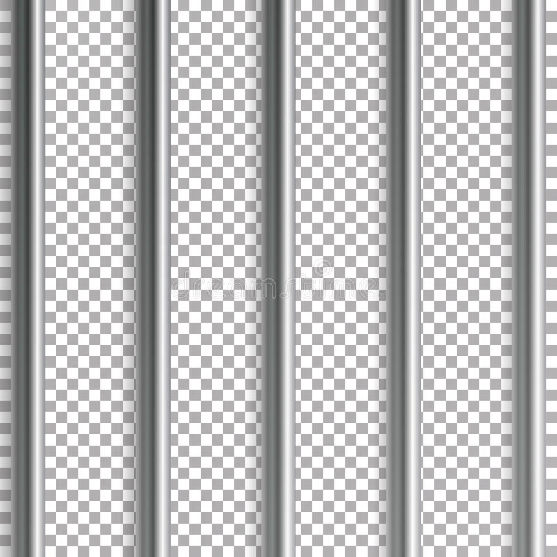 Więzienie zakazuje wektorową ilustrację Odizolowywający na przejrzystym tle 3D żelazo Lub Stalowa Więźniarskiego domu siatki ilus ilustracji