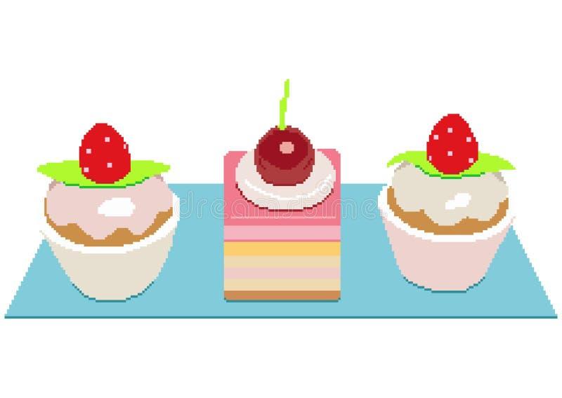 Wiśni i truskawki torty Kolorowy cukierki zasycha plasterek kawałek ustawiającą wektorową ilustrację Piksel sztuki ilustracja ilustracja wektor