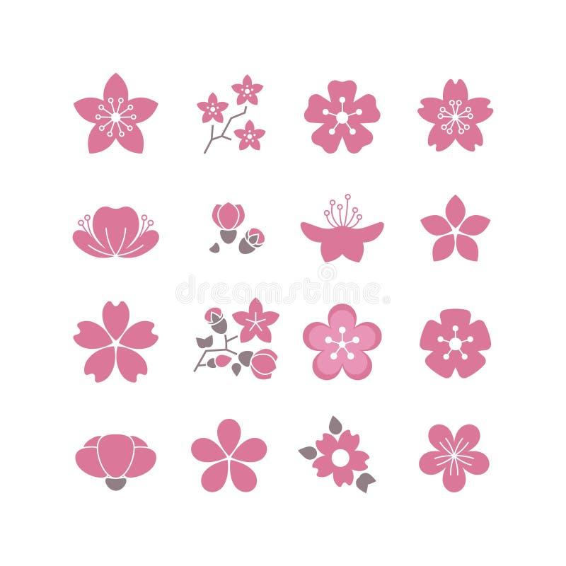Wiśni menchie kwitną, skaczą, Sakura okwitnięcia ikony wektorowy set ilustracja wektor