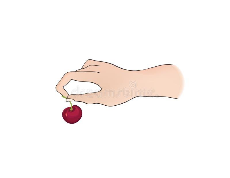 Wiśnia Na Wierzchołku Ręki mienia jagoda Deseru znak premiowa ikona ilustracja wektor
