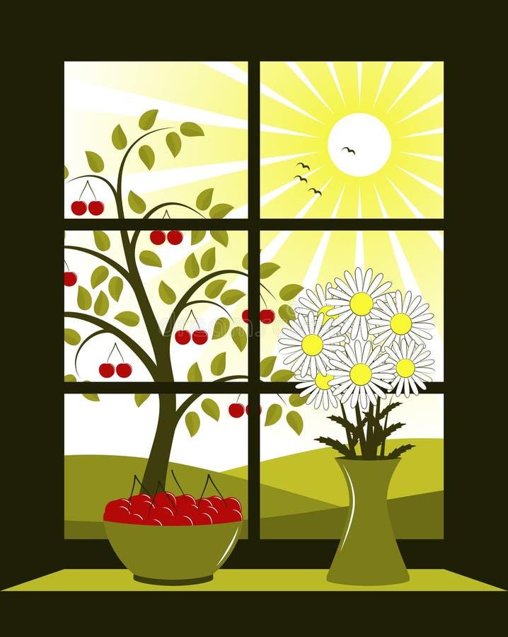 wiśnia na zewnątrz drzewnego okno ilustracja wektor