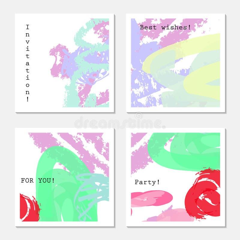 Wiśnie i szorstkie textured kredkowe uderzenie purpury zielenieją ilustracja wektor