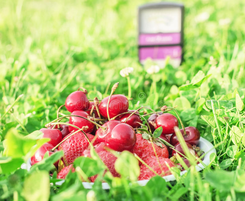 Wiśnie i truskawki w trawie fotografia stock