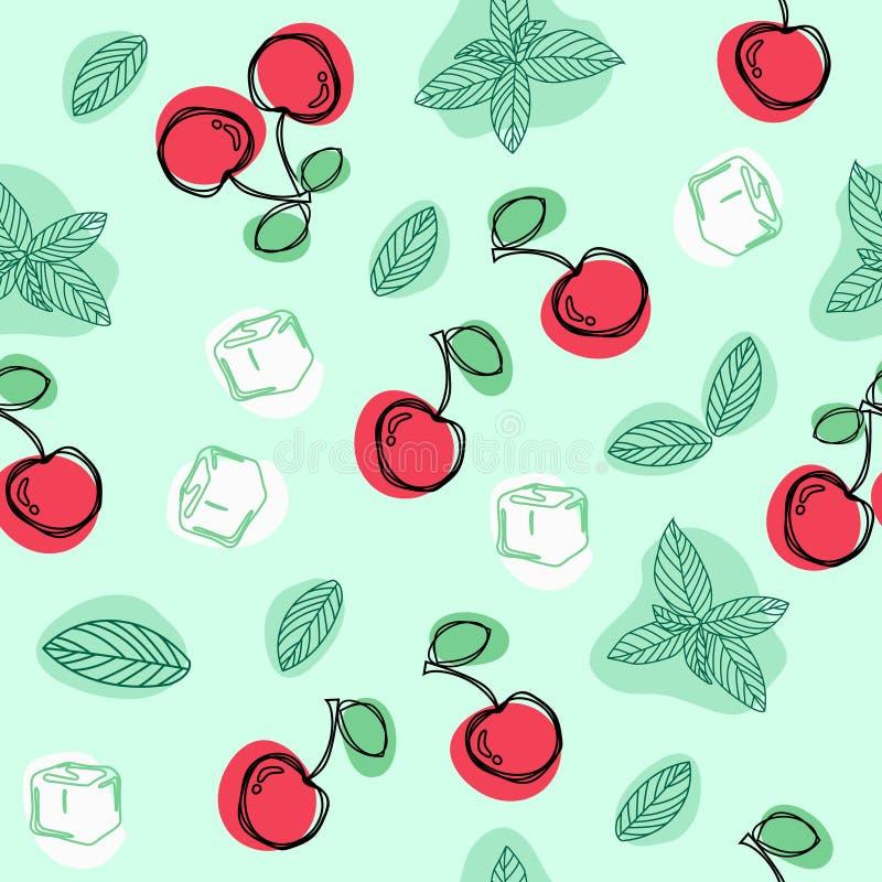 Wiśnie, nowi liście i kostki lodu ręka, rysują wektorowego bezszwowego wzór royalty ilustracja