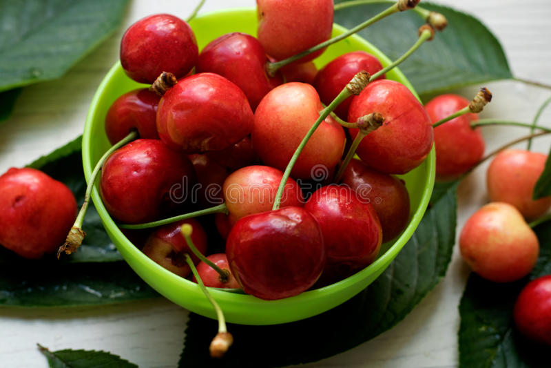 Wiśnie, słodki i soczysty w małym zielonym pucharze, świeżo podnoszącym obraz stock