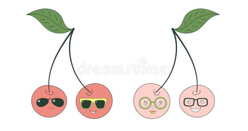 Wiśnie w szkło majcherach ilustracja wektor