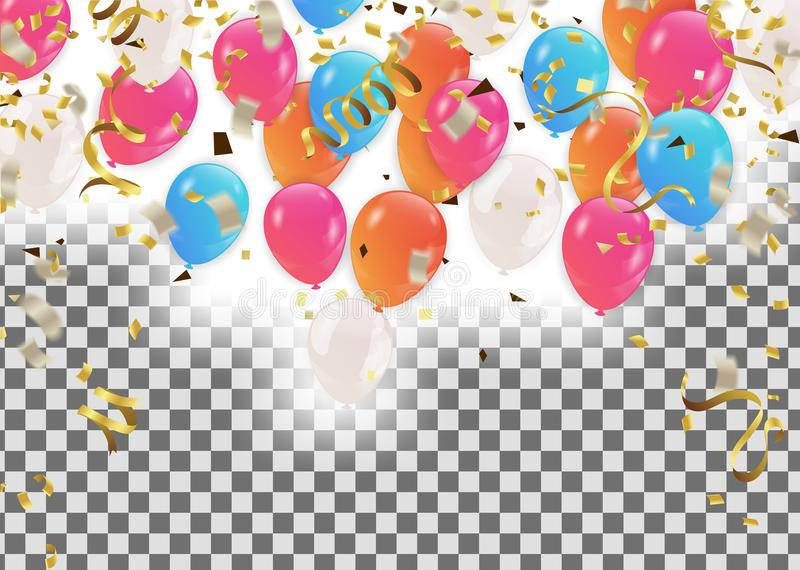 Wi coloridos del marco o del fondo del día de fiesta del feliz cumpleaños de los globos foto de archivo