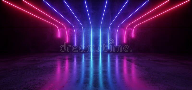 Wi concretos reflexivos da sala da fase vazia moderna futurista da ficção científica ilustração stock