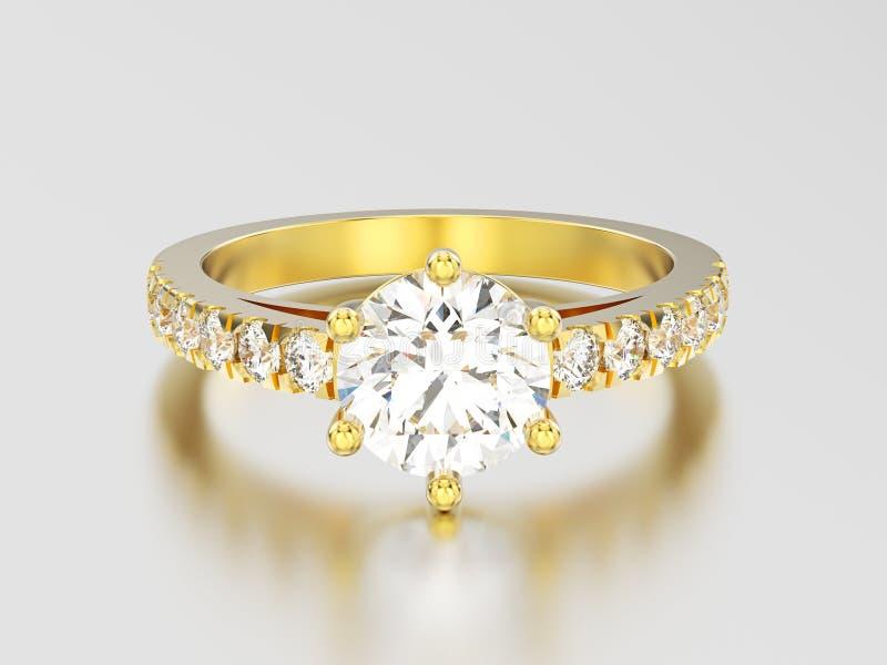 WI de bague à diamant d'engagement de solitaire d'or jaune de l'illustration 3D illustration stock