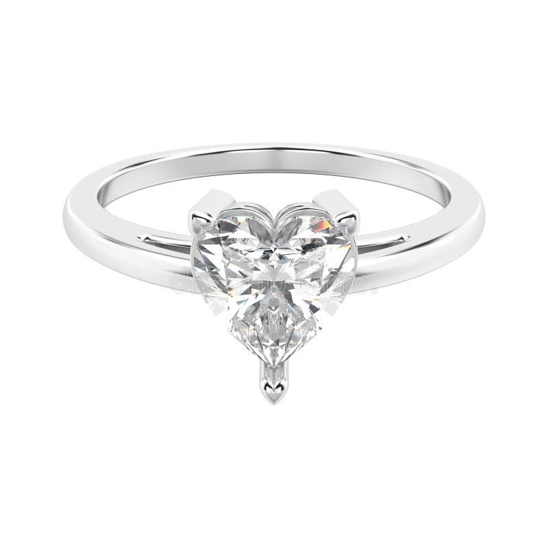 wi do anel de noivado do ouro branco ou da prata da ilustração 3D ilustração stock