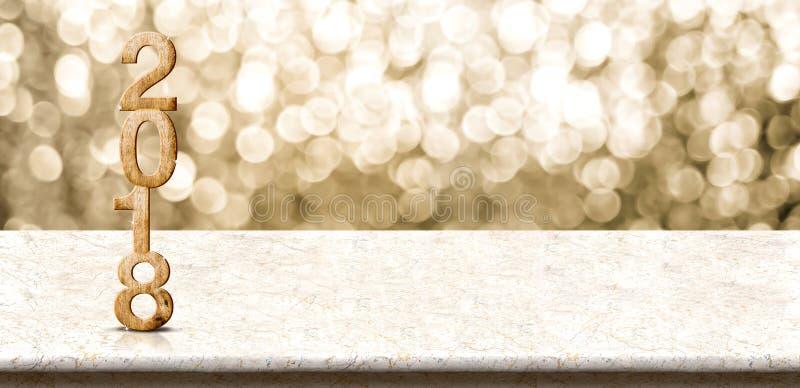 WI en bois de table de marbre de renderingon du nombre 3d de la bonne année 2018 images libres de droits