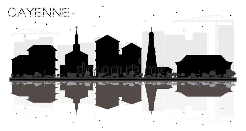 Wi för kontur för Cayenne Franska Guyana stadshorisont svartvita stock illustrationer
