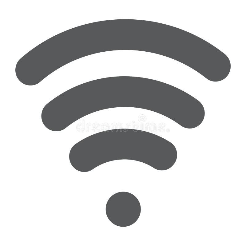 Wi-Fi纵的沟纹象、无线和通信,互联网标志,向量图形,在白色背景的一个坚实样式 库存例证