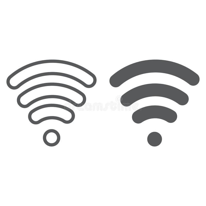 Wi-Fi线和纵的沟纹象、无线和通信,互联网标志,向量图形,一个线性样式 皇族释放例证