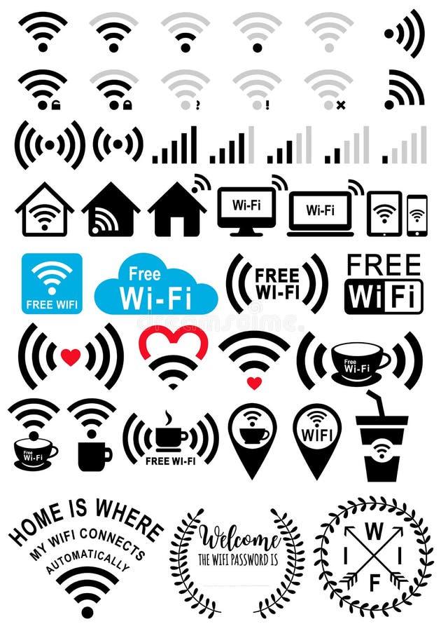 WI-Fi σημάδια, διανυσματικό σύνολο ελεύθερη απεικόνιση δικαιώματος