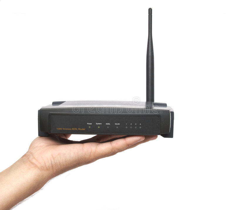 Wi-fi adsl modem. Antenna, connection royalty free stock images
