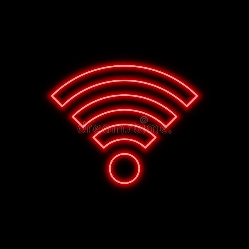 Wi-Fi autônomo, sinal de néon do sinal mau Símbolo de incandescência brilhante na ilustração royalty free