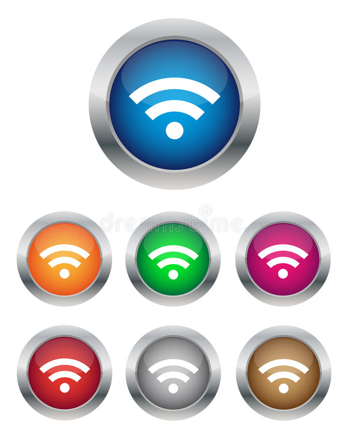 Download Wi-Fi buttons stock vector. Illustration of colorful - 25392002
