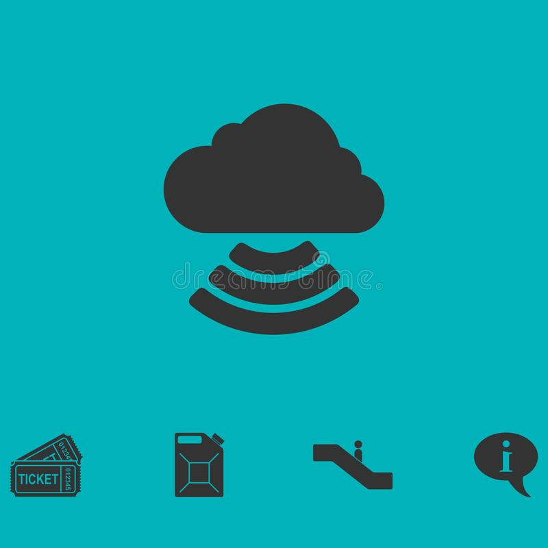 Wi-Fi cloud icon flat stock illustration
