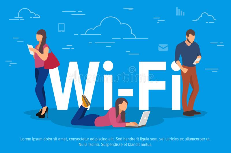 Wi-Fi concept vector illustration. People using devices for remote working and professional growth. Flat concept of vector illustration