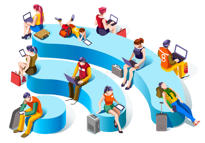 Wi-fi Connecting Isometric People Vector Social Graphics royalty free illustration