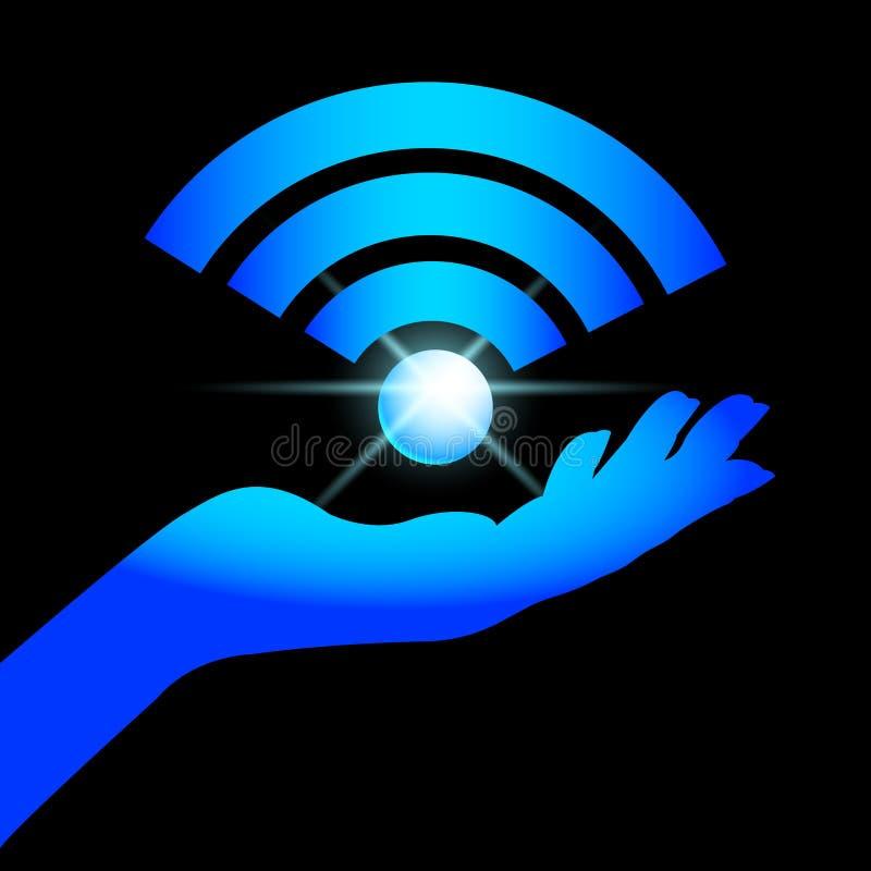Wi-Fi de la muestra en la palma stock de ilustración